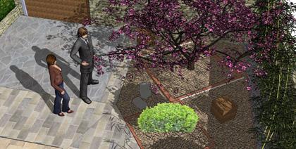 Imagen del diseño de un jardín en 3D